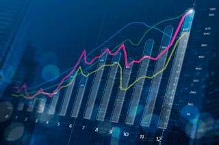 Futuristic Graph in blue